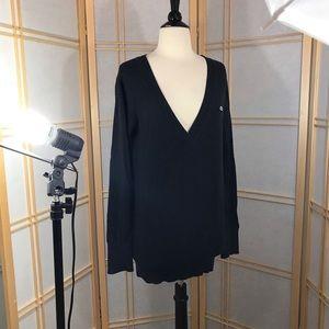 Lacoste Mens Cotton V-Neck Sweater Black